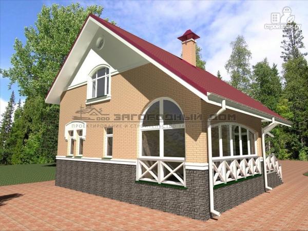 Фото 5: проект кирпичный дом с верандой и эркером в гостиной
