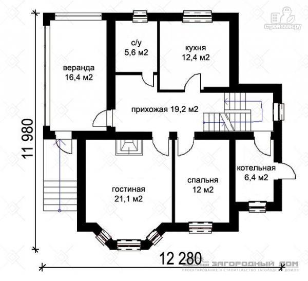Фото 2: проект кирпичный дом с верандой и эркером в гостиной
