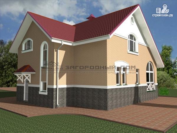 Фото 6: проект кирпичный дом с верандой и эркером в гостиной