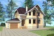 Проект дом из кирпича с террасой и эркером в гостиной