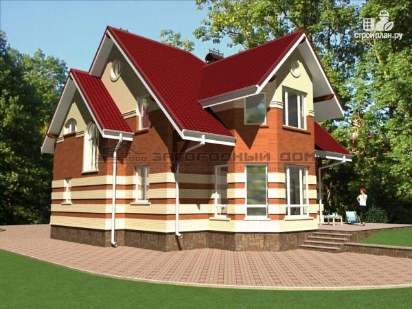Фото: проект кирпичный дом с террасой и эркером гостиной