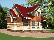 Фото: кирпичный дом с террасой и эркером гостиной