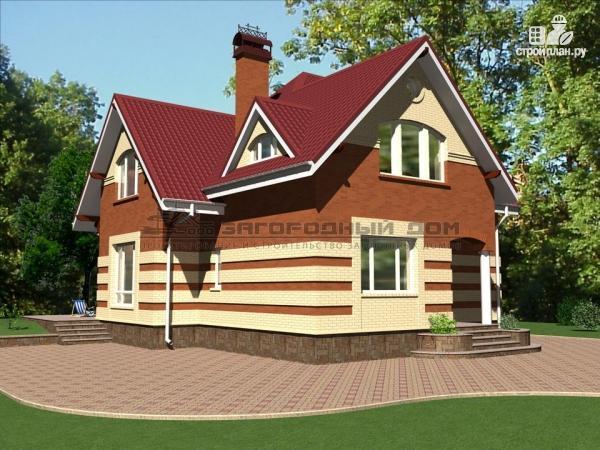 Фото 5: проект кирпичный дом с террасой и эркером гостиной