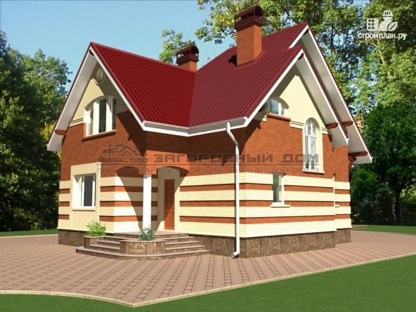 Фото 4: проект кирпичный дом с террасой и эркером гостиной