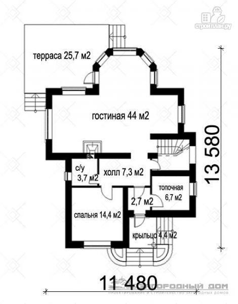 Фото 2: проект кирпичный дом с террасой и эркером гостиной
