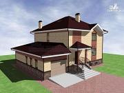 Фото: двухэтажный дом кирпича с гаражом