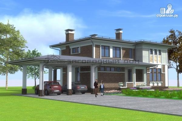 Фото 7: проект кирпичный дом с большой террасой и навесом для двух машин