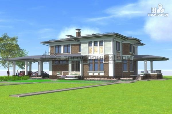 Фото: проект кирпичный дом с большой террасой и навесом для двух машин