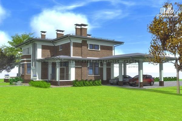 Фото 8: проект кирпичный дом с большой террасой и навесом для двух машин