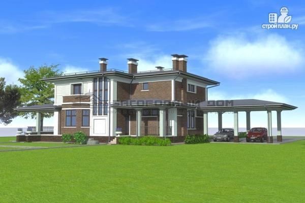Фото 6: проект кирпичный дом с большой террасой и навесом для двух машин