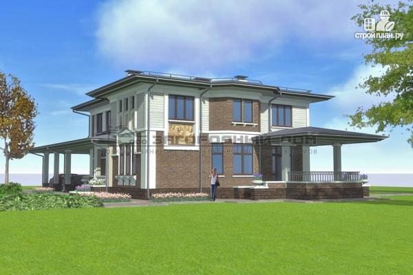 Фото 4: проект кирпичный дом с большой террасой и навесом для двух машин