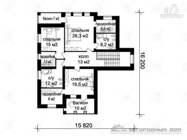 Фото 3: проект двухэтажный кирпичный дом с балконом и гаражом на две машины