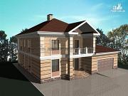 Фото: двухэтажный кирпичный дом с балконом и гаражом на две машины