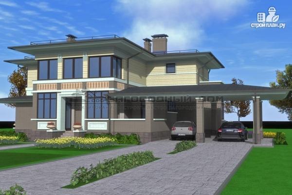 Фото 4: проект кирпичный дом с террасой и навесом для двух машин