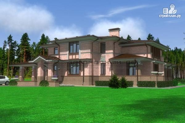 Фото: проект большой дом из кирпича с террасой, балконом и навесом для двух машин