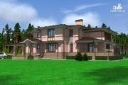 Фото: большой дом из кирпича с террасой, балконом и навесом для двух машин