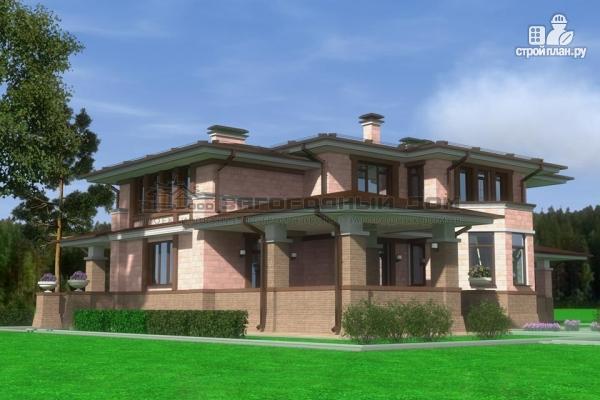 Фото 6: проект большой дом из кирпича с террасой, балконом и навесом для двух машин