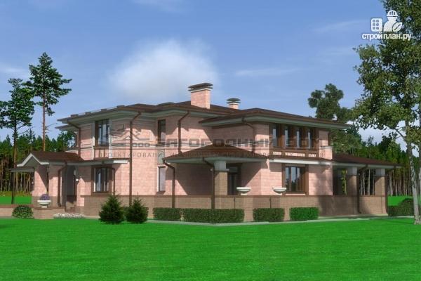 Фото 5: проект большой дом из кирпича с террасой, балконом и навесом для двух машин