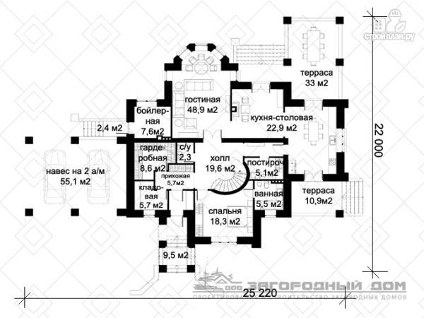 Фото 2: проект большой дом из кирпича с террасой, балконом и навесом для двух машин