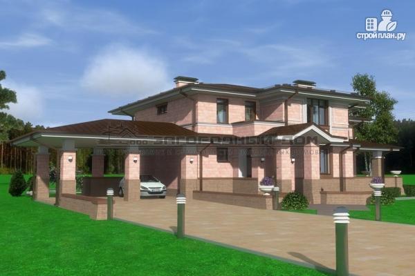 Фото 4: проект большой дом из кирпича с террасой, балконом и навесом для двух машин