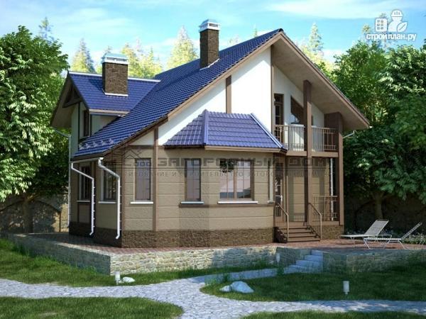 Фото: проект дом из блоков со вторым светом в гостиной