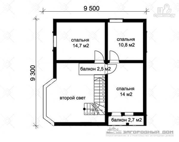 Фото 3: проект дом из блоков со вторым светом в гостиной