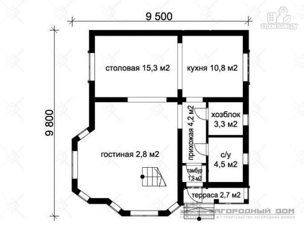 Фото 2: проект дом из блоков со вторым светом в гостиной