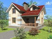 Проект дом из блоков с мансардой и террасой