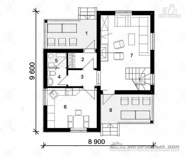 Фото 2: проект дом из блоков с парами балконов и террас