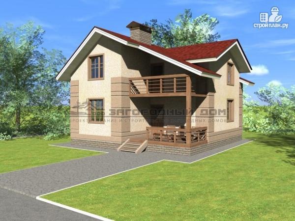 Фото: проект дом из блоков с парами балконов и террас
