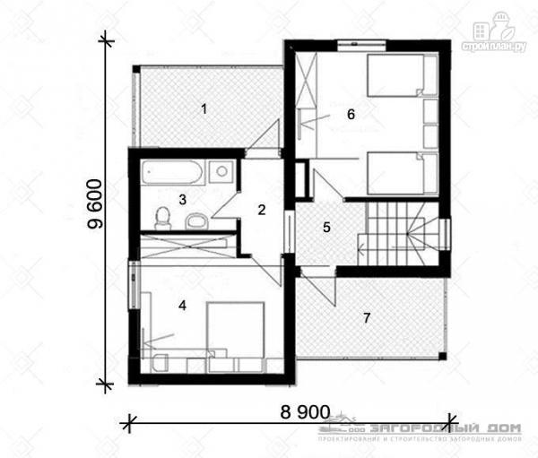 Фото 3: проект дом из блоков с парами балконов и террас