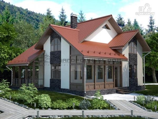 Фото: проект дом из блоков с многоярусной кровлей