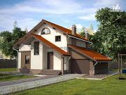 Фото: дом из пеноблоков с пристроенными гаражом и топочной