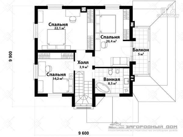 Фото 3: проект дом из блоков с балконом, террасой и гаражом