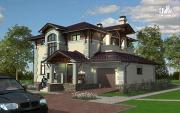 Проект дом из блоков с балконом, террасой и гаражом