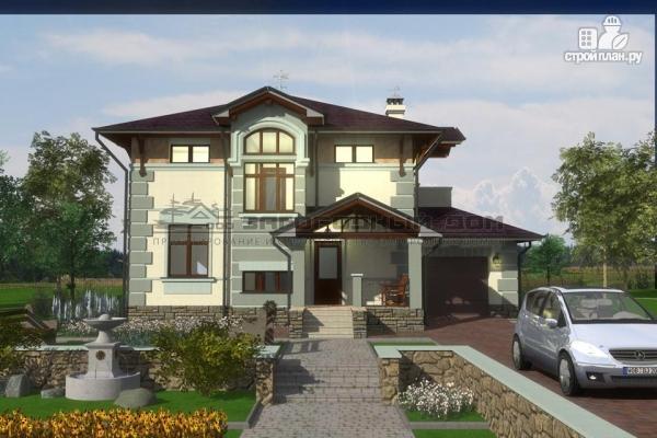 Фото 5: проект дом из блоков с балконом, террасой и гаражом