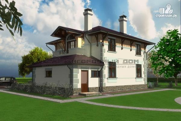 Фото 6: проект дом из блоков с балконом, террасой и гаражом
