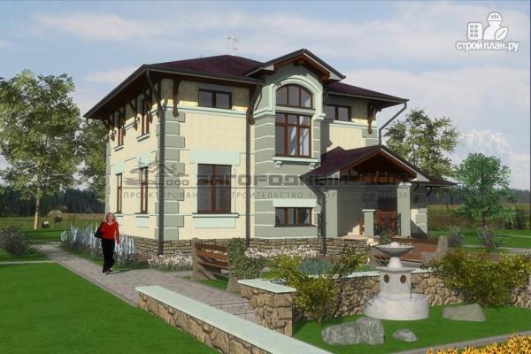 Фото 4: проект дом из блоков с балконом, террасой и гаражом