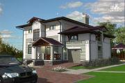 Фото: двухэтажный дом из газосиликатных блоков с террасой и гаражом