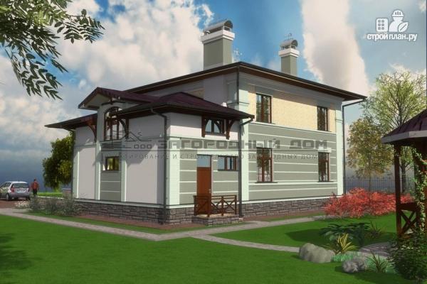 Фото 5: проект двухэтажный дом из газосиликатных блоков с террасой и гаражом