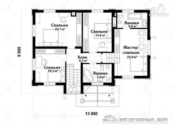 Фото 3: проект двухэтажный дом из газосиликатных блоков с террасой и гаражом