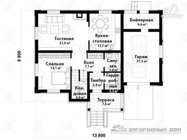 Фото 2: проект двухэтажный дом из газосиликатных блоков с террасой и гаражом