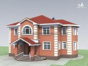 Проект двухэтажный классический каменный дом с четырехскатной кровлей и зимним садом