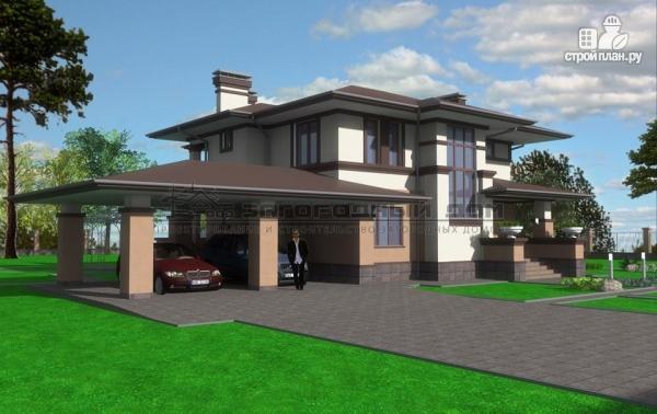 Фото 5: проект двухэтажный дом с террасой и навесом для двух машин