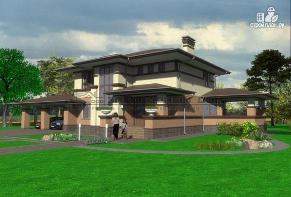 Фото: проект двухэтажный дом с террасой и навесом для двух машин