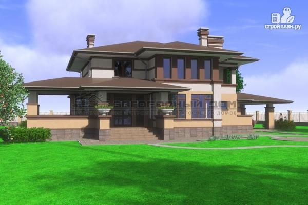 Фото 6: проект двухэтажный дом с террасой и навесом для двух машин