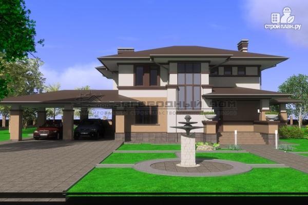 Фото 7: проект двухэтажный дом с террасой и навесом для двух машин