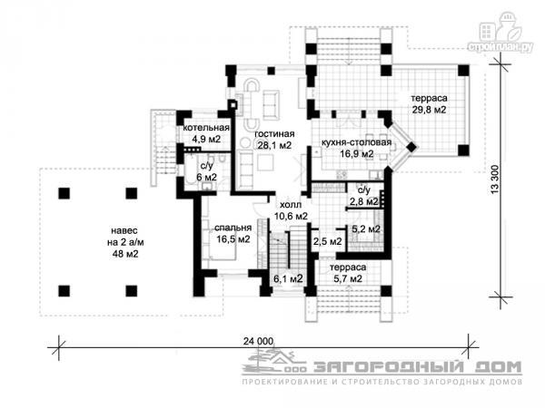 Фото 2: проект двухэтажный дом с террасой и навесом для двух машин