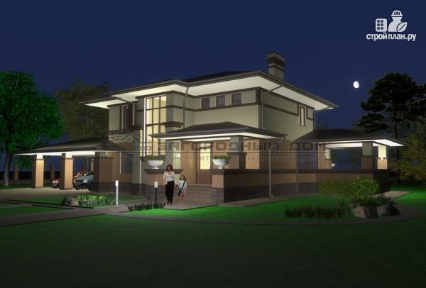 Фото 8: проект двухэтажный дом с террасой и навесом для двух машин