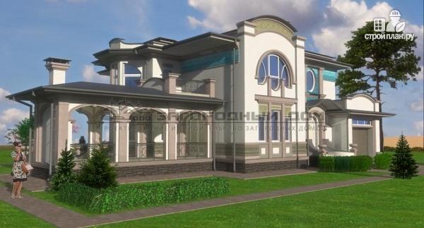 Фото: проект дом с террасой-барбекю и гаражом